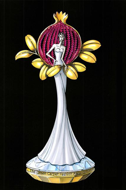 La statuetta in oro simbolo del premio green per la moda