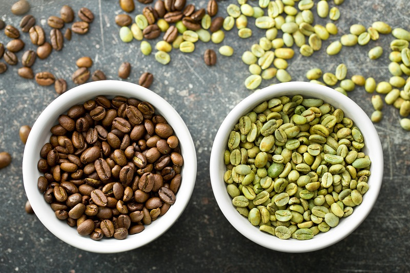 chicchi di caffè verdi