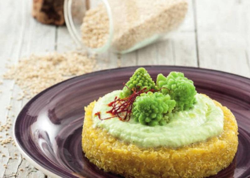 Quinoa con crema di broccolo e zafferano