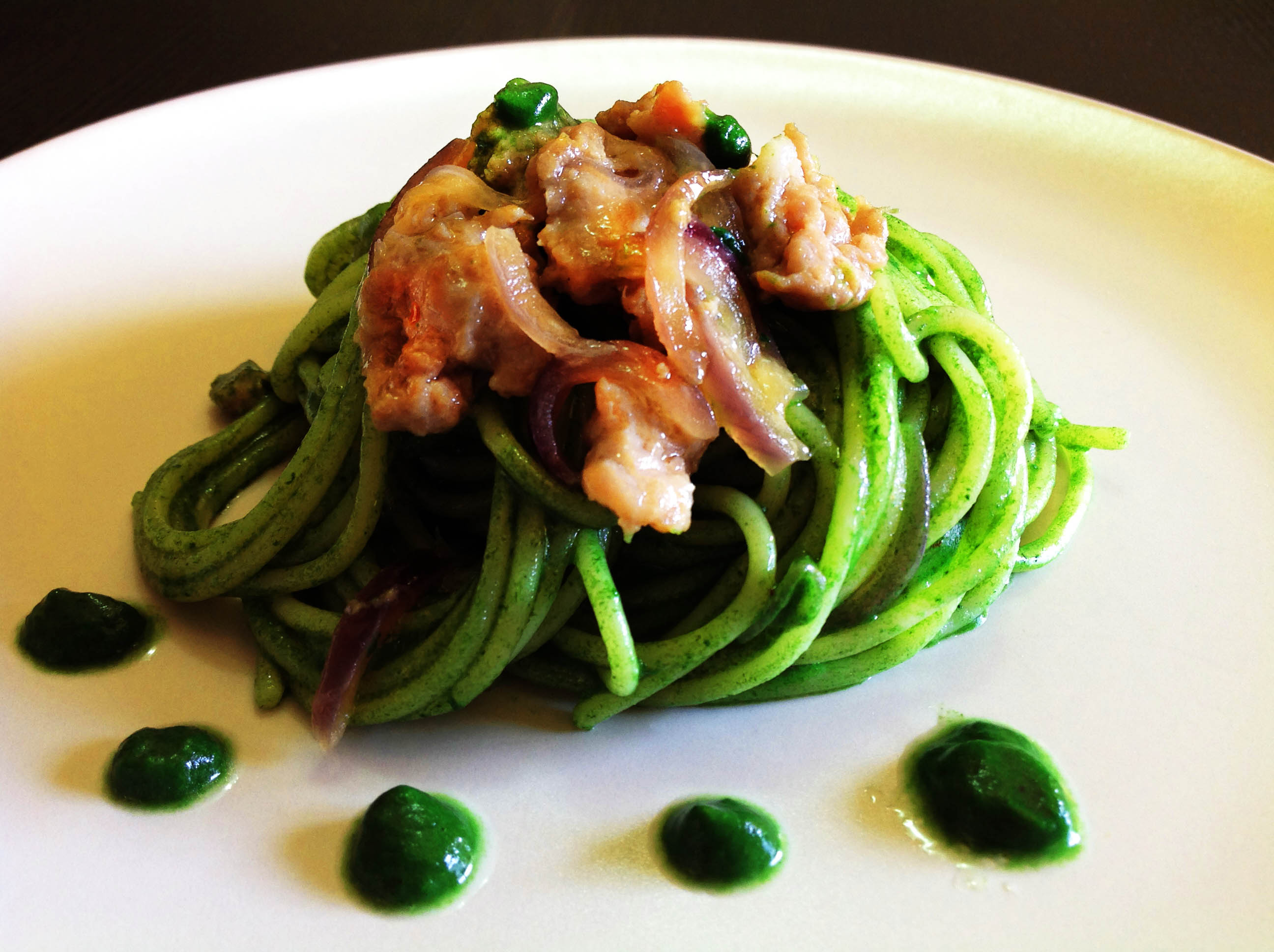 pasta con pesto verde di spinaci