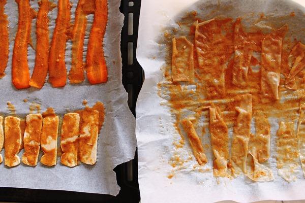 preparazione del bacon vegano