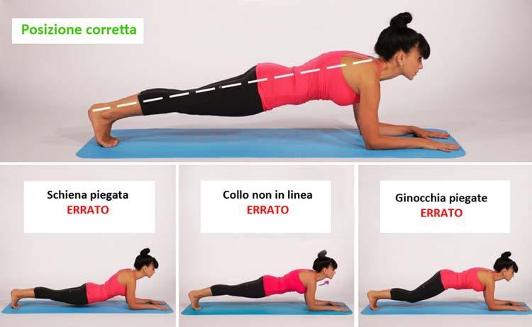 plank, posizioni corrette da tenere