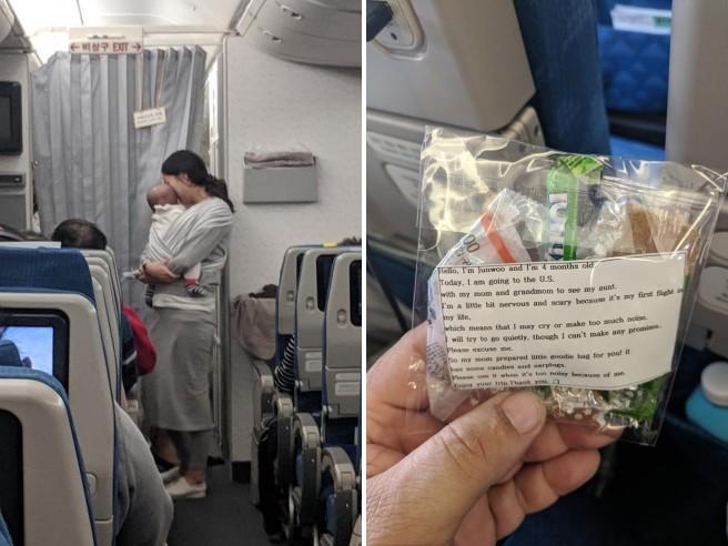 gesto cortesia mamma in aereo